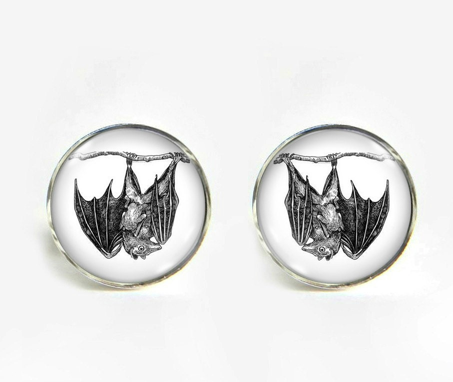 f380b7589a945 Bat with Baby small post stud earrings Stainless steel hypoallergenic ...