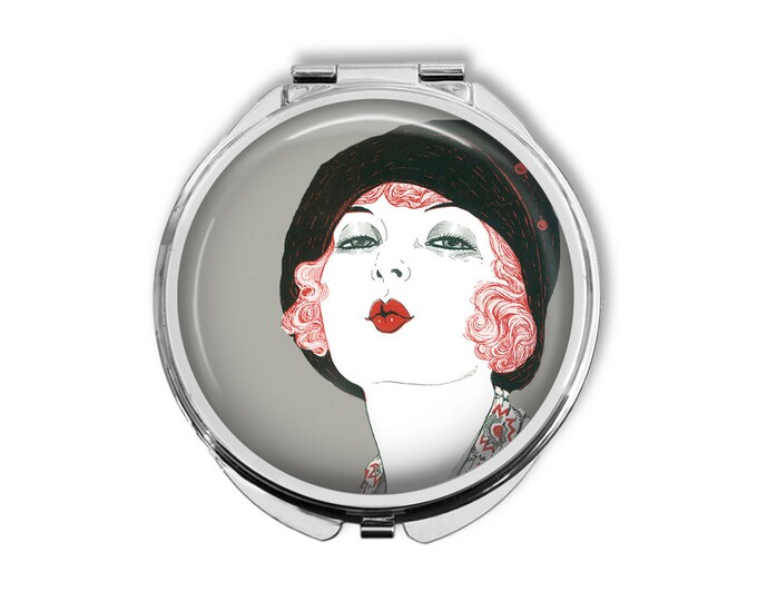 Flapper Kiss Pocket Mirror Compact Large Gifts for her