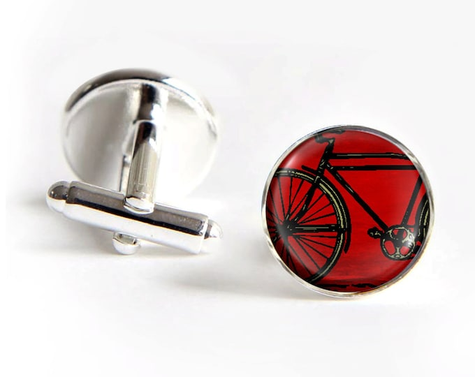 Bike Cufflinks silver 18mm cuff links Gifts for him