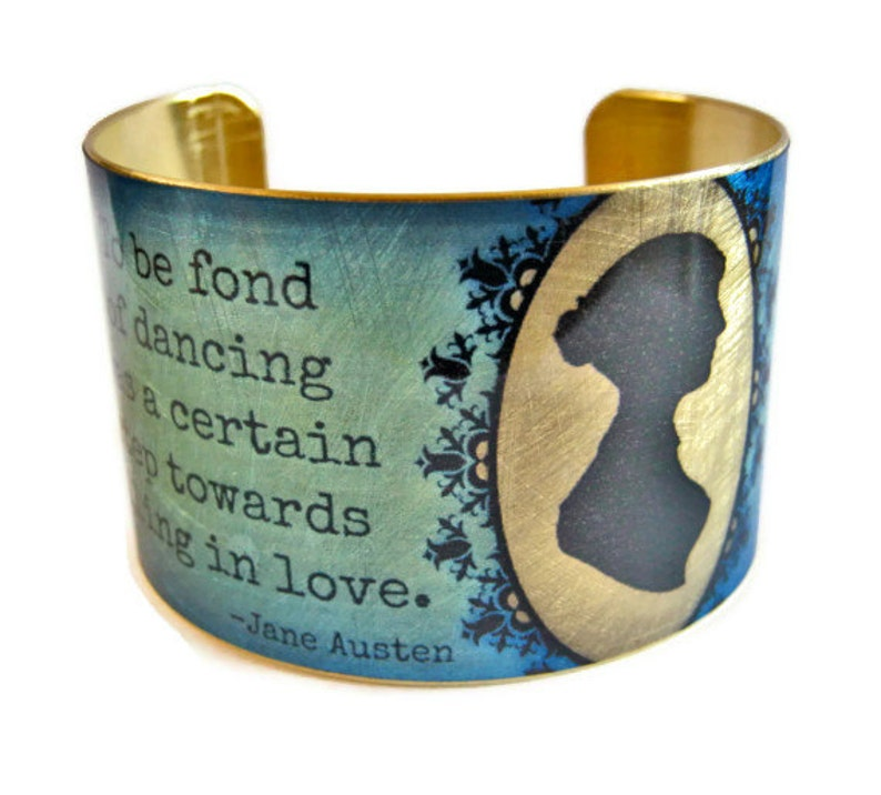 Jane Austen brass cuff bracelet Pride and Prejudice Quote image 0