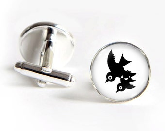 BIRDS Cufflinks silver 18mm cuff links Gifts for him