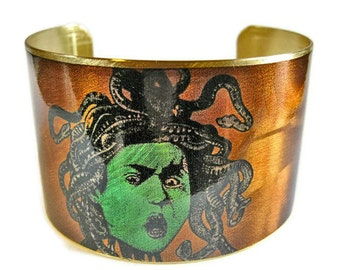 Medusa cuff bracelet brass Gifts for her