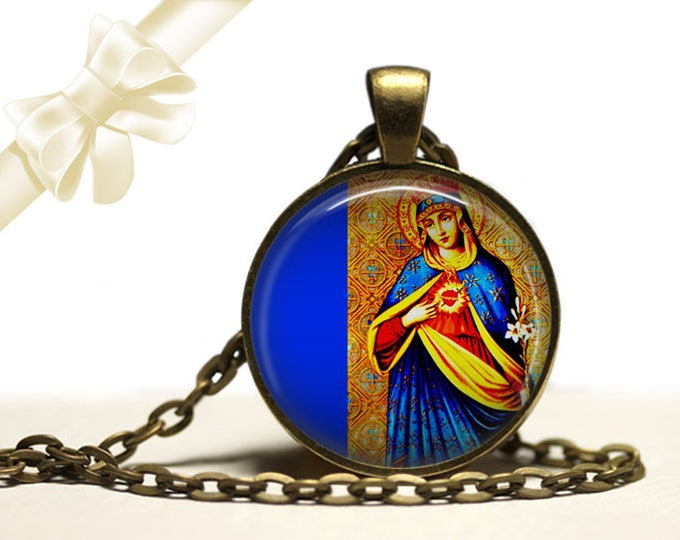 Immaculate Heart of Mary Necklace brass Pendant Necklace Free Shipping Gifts for her