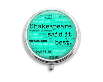 Shakespeare Pill Box Stash Case Silver quotes