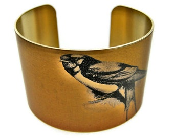 Swallow bird cuff bracelet brass Gifts for her
