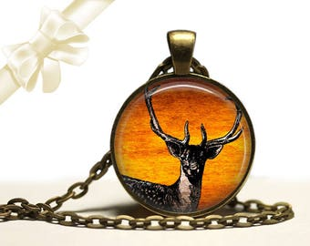 Stag Deer brass Pendant Necklace Free Shipping Gifts for her