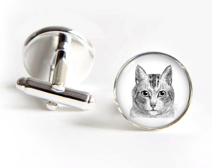 CAT Cufflinks silver 18mm cuff links Gifts for him