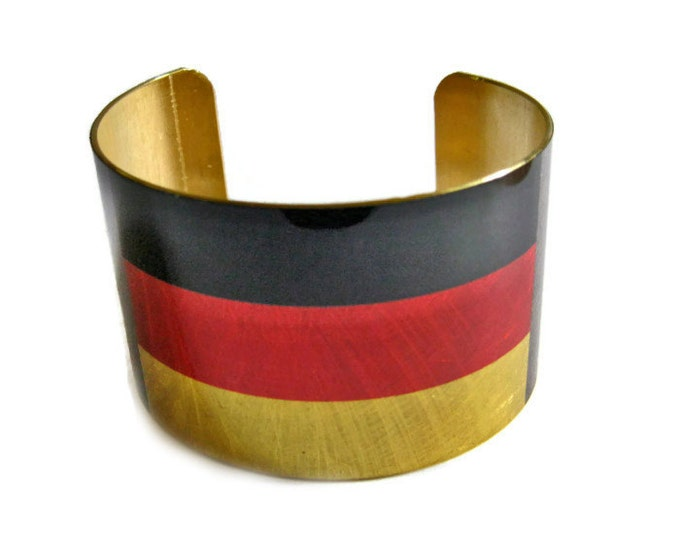 Germany FLAG cuff bracelet German Brass   Heritage Gifts for her