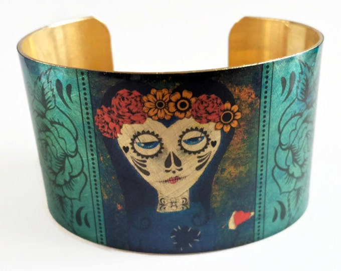 Day of the Dead Dia de los Muertos cuff bracelet brass jewelry Gifts for her