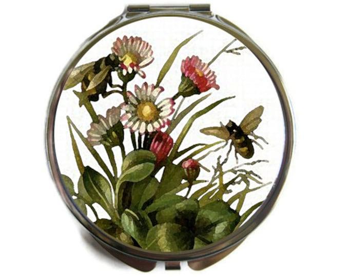 Watercolor Bees Compact Mirror Pocket Mirror Large