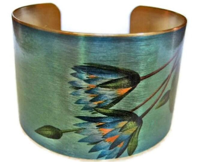 Blue Lotus adjustable cuff bracelet Vintage style brass Gifts for her