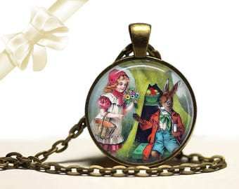 Apple Vendor Rabbit brass Pendant Necklace Free Shipping Gifts for her