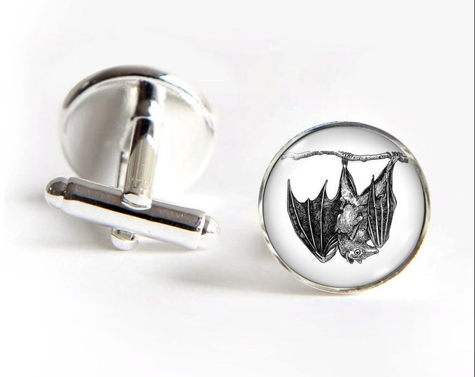 Bat with Baby Bat Cufflinks silver 18mm cuff links Gifts for him