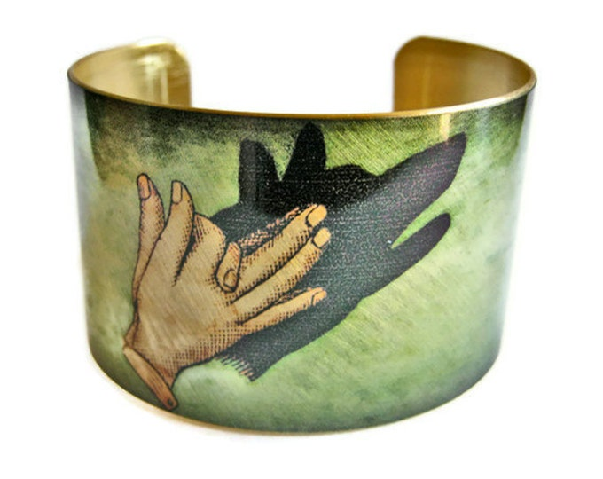 Wolf Shadow Puppet cuff bracelet brass   Gifts for her
