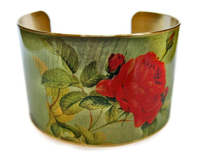 Rose cuff bracelet brass   adjustable Gifts for her