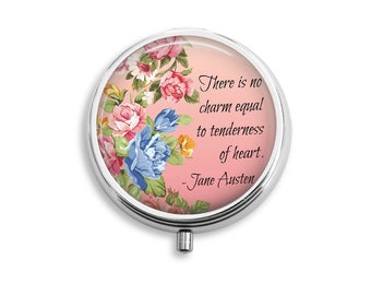"Jane Austen Pill Box Stash Case Silver ""There is no charm equal to tenderness of heart"""