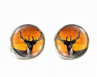 Deer small post stud earrings Stainless steel hypoallergenic 12mm Buck Stag Gifts for her