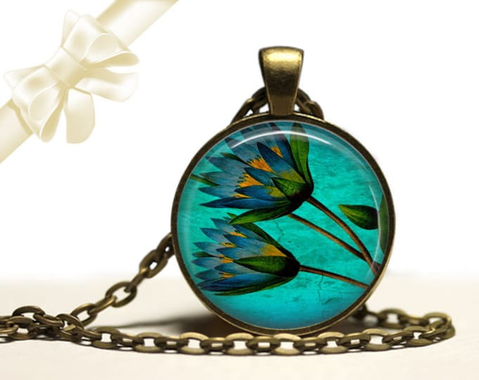 Lotus flower Waterlily Necklace brass Pendant Necklace Free Shipping Gifts for her