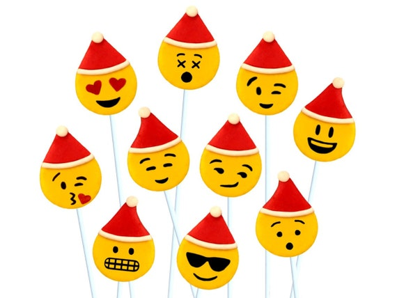 Christmas Emoji.Santa And Elf Christmas Emoji Candy Edible Marzipan Lollipops For Christmas A Delicious Treat