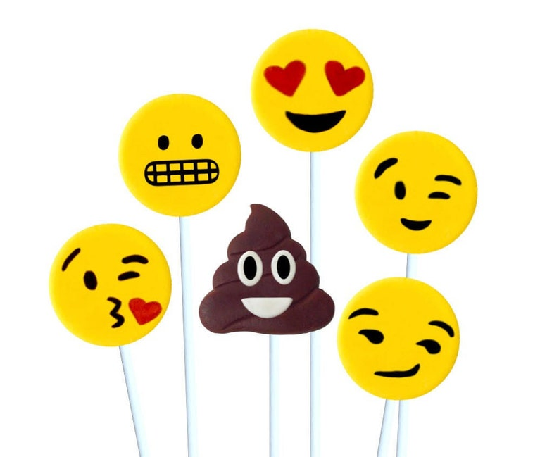 Emoji Candy Lollipops Includes The Poop Birthday
