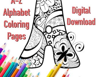 Printable Coloring Pages / Doodle Alphabet / For Children and Adults / Hand Drawn / Instant Digital Download