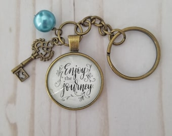 """Inspirational Key Ring """"Enjoy The Journey"""" Hand-Lettered Brushed Gold Key Charm and Faux Pearl Bead"""