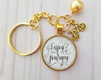 Inspirational Key Ring Enjoy The Journey Key Chain Hand-Lettered Gold Bicycle Charm and Faux Bead