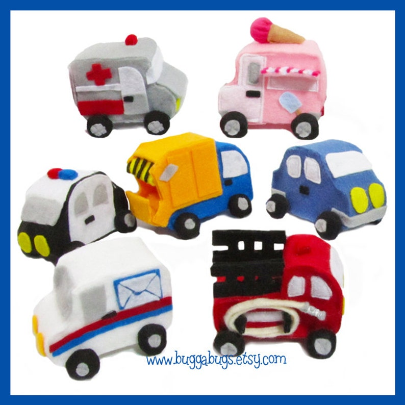 City & Emergency Cars  PDF Pattern Garbage Truck Police image 0