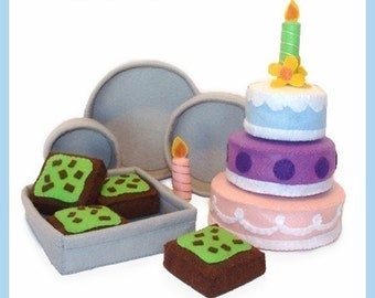 CAKES and BROWNIES - PDF Felt Food Pattern (Cakes, Mint Brownies, Pans, Decorations)