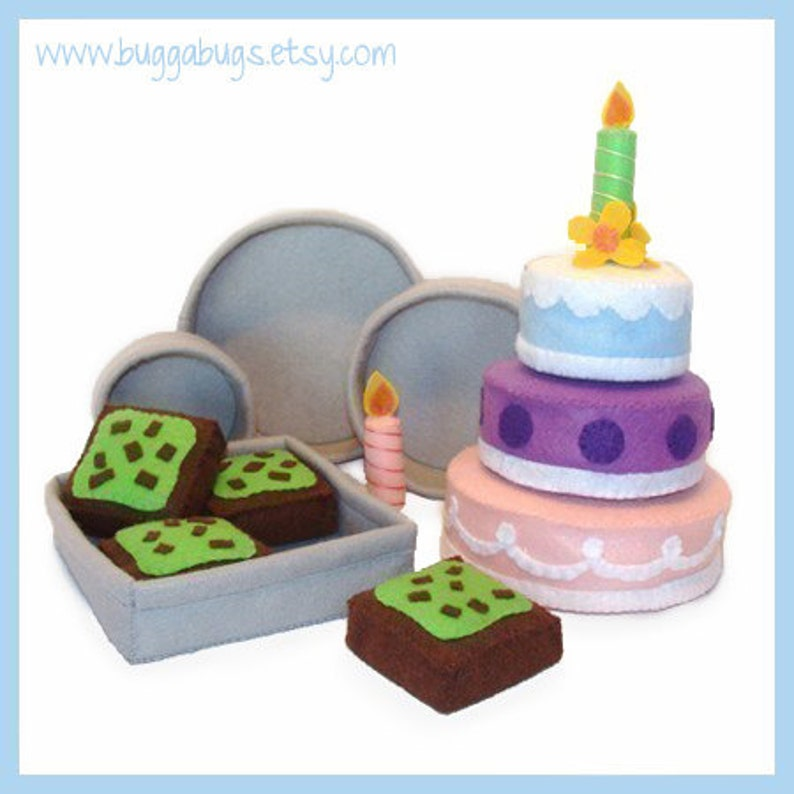CAKES and BROWNIES  PDF Felt Food Pattern Cakes Mint image 0