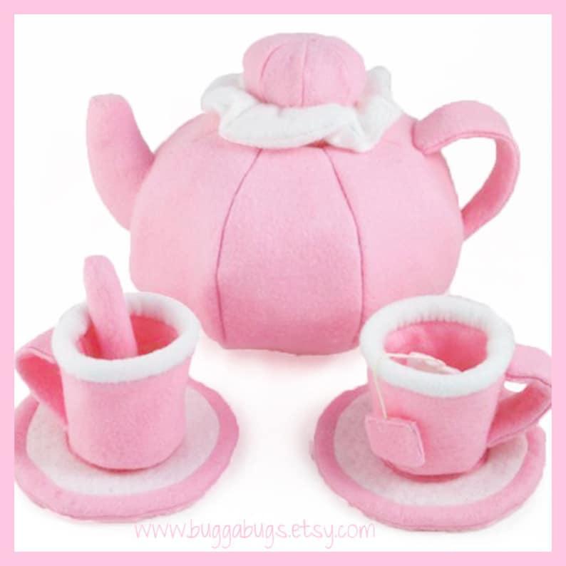 TEA SET  PDF Felt Food Pattern Teapot Cups Saucers Tea image 0