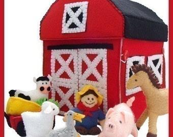 COUNTRY FARM - PDF Pattern (Barn, Barnyard, Farmer, Wagon, Horse, Cow, Pig, Sheep, Goose, Hay, Carrots)
