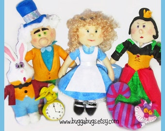 ALICE In WONDERLAND - PDF Pattern (Alice, Queen of Hearts, Mad Hatter, White Rabbit, Cheshire Cat)