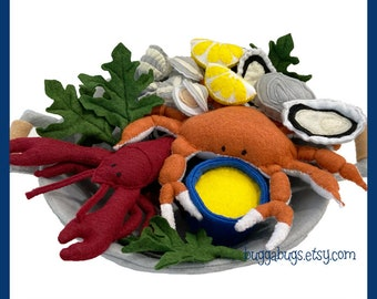 SEAFOOD DINNER - PDF Sewing Pattern (Lobster, Crab, Oyster, Clam, Kale, Lemon Wedge, Bucket, Butter Sauce))
