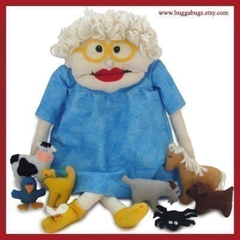 I Know An Old Woman  PDF Doll Pattern Doll Fly Spider image 0