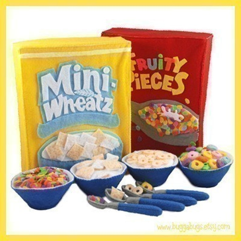 BREAKFAST CEREAL  PDF Felt Food Pattern Four Boxes Cereals image 0