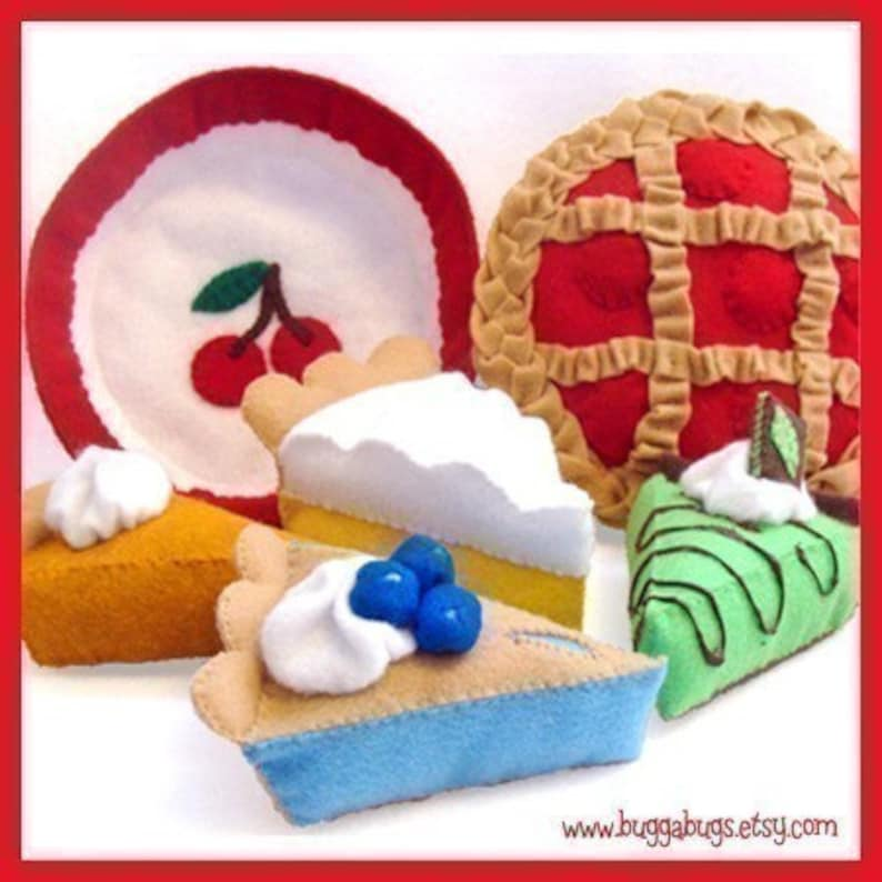 Blue Ribbon PIES  PDF Felt Food Pattern Cherry Grasshopper image 0