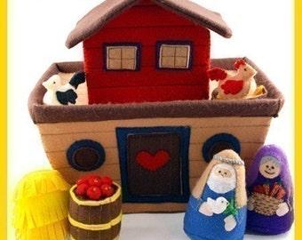 NOAH'S ARK - PDF Doll Pattern (Ark, Noah, Noah's Wife, Hay Stack, Apple Barrel, Chicken, Rooster, Nesting Box)