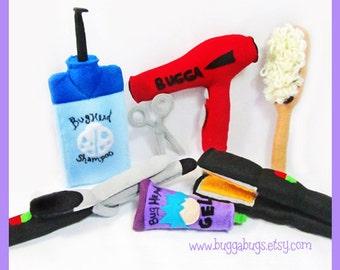 HAIR SALON - PDF Pattern (Shampoo, Scissors, Brush, Blowdryer, Gel, Straightener, Curling Iron)