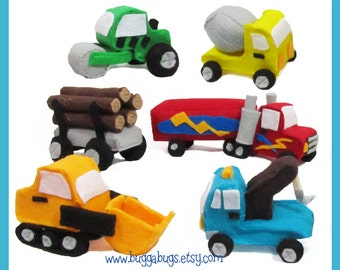 Construction & Haulers  - PDF Pattern (Semi Truck, Log Load, Front Loader, Tow Truck, Cement Truck, Roller)