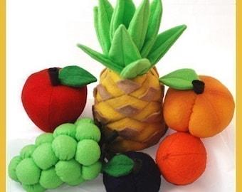 FAVORITE FRUIT - PDF Felt Food Pattern (Pineapple, Peach, Plum, Apple, Orange, Grapes)