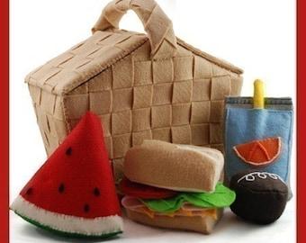 PERFECT PICNIC - PDF Felt Food Pattern (Basket, Hoagie Sandwich, Juice Pouch, Cupcake, Watermelon)