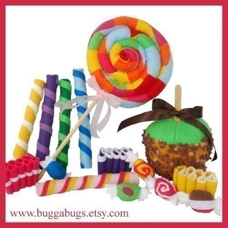 CANDY SHOPPE  PDF Felt Food Pattern Lollipop Ribbon Candy image 0