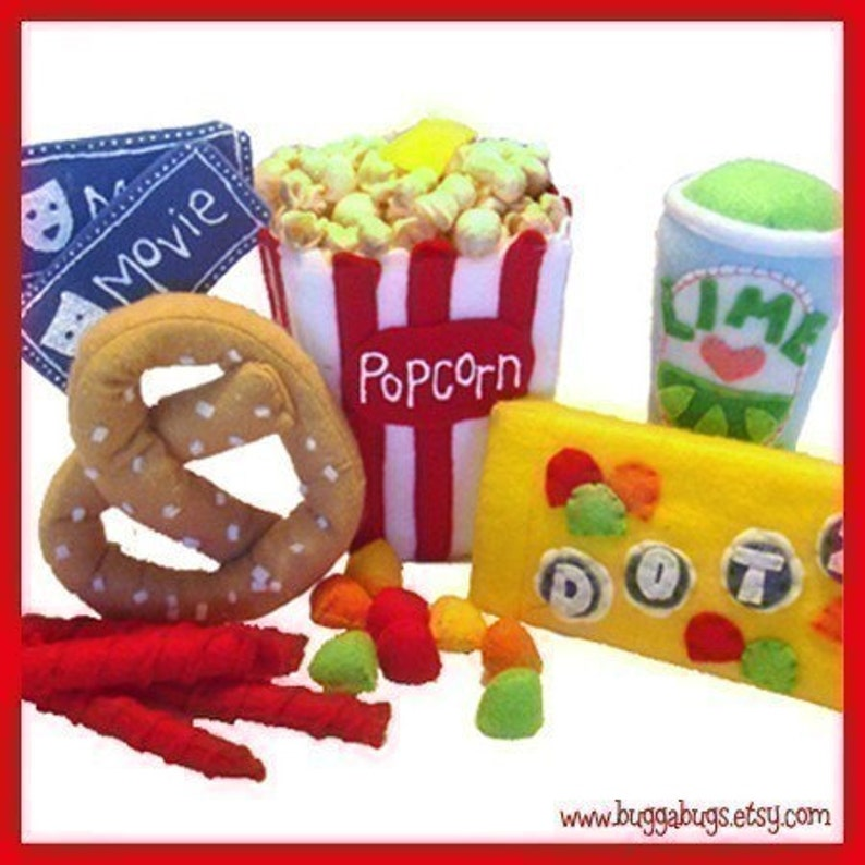 MOVIE TIME  PDF Felt Food Pattern Popcorn Candy Pretzel image 0