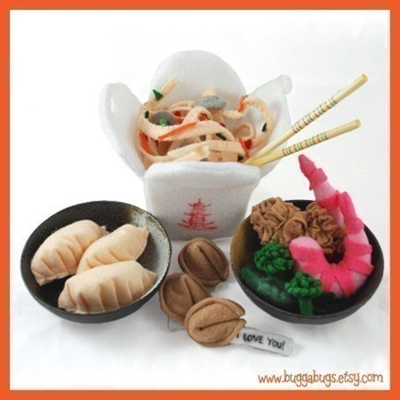 Chinese Take Out  PDF Felt Food Pattern Chow Mein Shrimp image 0
