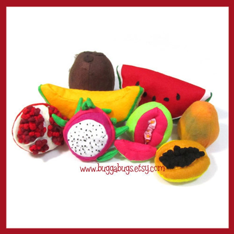TROPICAL FRUIT  Felt Food PDF Pattern Guava Cantaloupe image 0