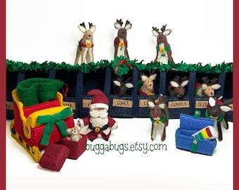 SANTA'S REINDEER - PDF Sewing Pattern (Stable, Santa, Sleigh, Reindeer, Gifts, Sack, Xylophone, Bear)