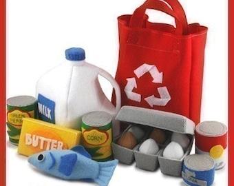 GROCERIES - PDF Felt Food Pattern (Milk, Eggs, Carton, Fish, Butter, Canned Food, Tote Bag)