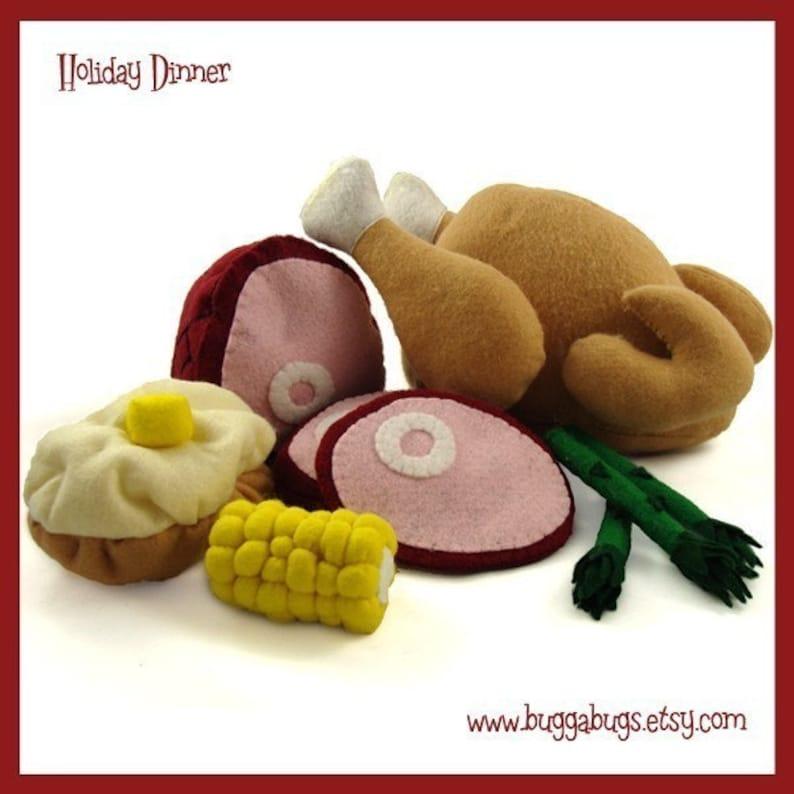 HOLIDAY DINNER  PDF Pattern Turkey Ham Baked Potato Corn image 0