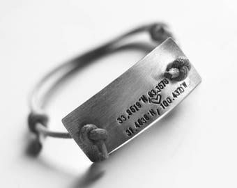 custom coordinates with heart adjustable leather cord bracelet (custom order)